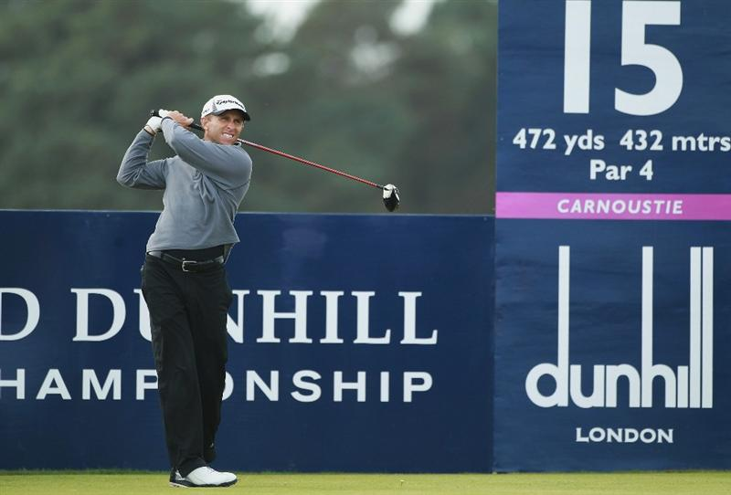 CARNOUSTIE, SCOTLAND - OCTOBER 07:  Tim Wilkinson of New Zealand tees off on the 15th hole  during the first round of The Alfred Dunhill Links Championship at Carnoustie Golf Links on October 7, 2010 in Carnoustie, Scotland.  (Photo by Warren Little/Getty Images)