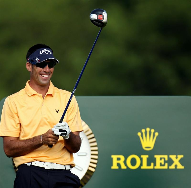 NEWPORT, WALES - JUNE 04:  Alvaro Quiros of Spain during the second round of the Celtic Manor Wales Open on the 2010 Course at the Celtic Manor Resort on June 4, 2010 in Newport, Wales.  (Photo by Ross Kinnaird/Getty Images)