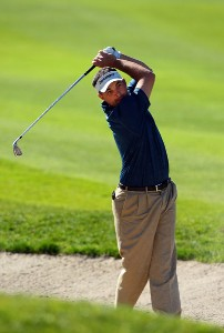 Brad Adomonis hits out of the bunker on the 17th fairway during the second round of the Buick Invitational on January 25, 2008 at the Torrey Pines Golf Course in  La Jolla, California. PGA TOUR - 2008 Buick Invitational - Round TwoPhoto by Donald Miralle/Getty Images