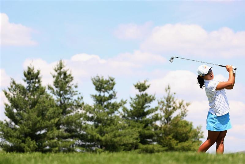 SPRINGFIELD, IL - JUNE 04:  Seon Hwa Lee of South Korea hits a tee shot on the 17th hole during the first round of the LPGA State Farm Classic golf tournament at Panther Creek Country Club on June 4, 2009 in Springfield, Illinois.  (Photo by Christian Petersen/Getty Images)