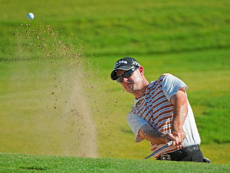 LAS VEGAS - OCTOBER 17:  Rory Sabatini blasts out of the greenside bunker on the 9th hole during the second round of the Justin Timberlake Shriners Hospitals for Children Open held at the TPC Summerlin on Friday, October 17, 2008 in Las Vegas, Nevada. (Photo by Marc Feldman/Getty Images)
