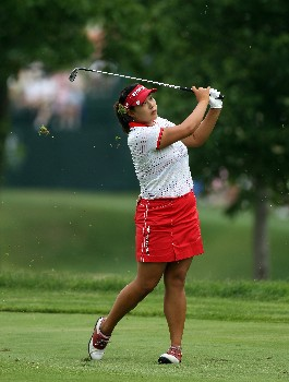HAVRE DE GRACE, MD - JUNE 10:  Jee Young Lee of South Korea hits her second shot at the par 4, 1st hole during the final round of the 2007 McDonald's LPGA Championship on June 10, 2007 at Bulle Rock Golf Course in Havre de Grace, Maryland.  (Photo by David Cannon/Getty Images)