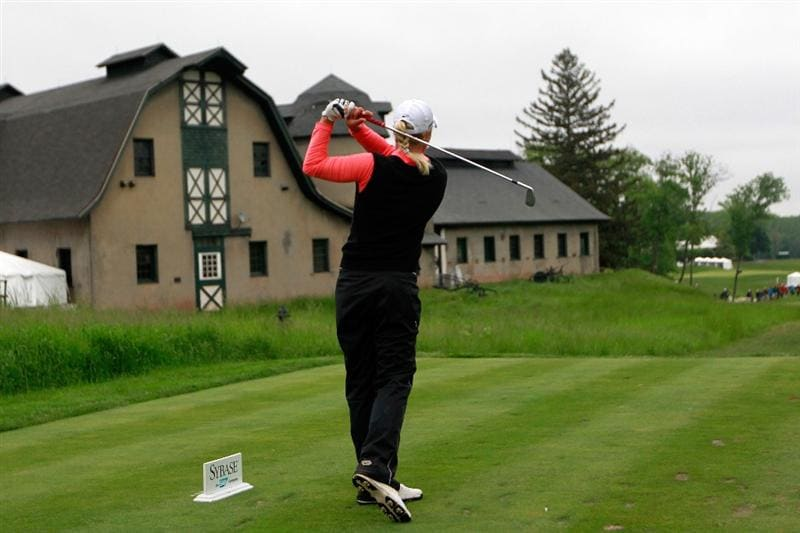 GLADSTONE, NJ - MAY 22:  Suzann Pettersen of Norway hits her tee shot on the sixteenth hole during her match against Cristie Kerr in the final of the Sybase Match Play Championship at Hamilton Farm Golf Club on May 22, 2011 in Gladstone, New Jersey.  (Photo by Chris Trotman/Getty Images)