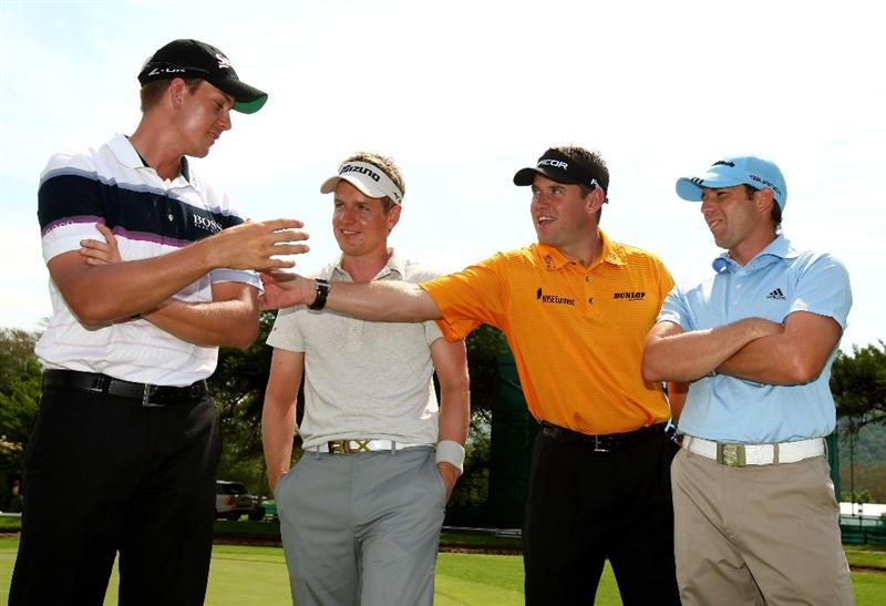 SUN CITY, SOUTH AFRICA - DECEMBER 03:  (L-R) Henrik Stenson of Sweden, Luke Donald, Lee Westwood of England and Sergio Garcia of Spain chat during the pro-am for the Nedbank Golf Challenge at the Gary Player Country Club on December 3, 2008 in Sun City, South Africa.  (Photo by Richard Heathcote/Getty Images)