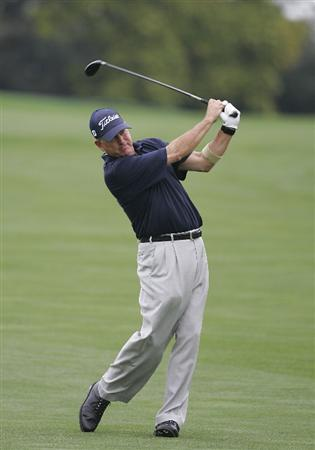 TIMONIUM, MD - OCTOBER 02:  Jay Haas plays a shot from the fairway during the second round of the Constellation Energy Senior Players Championship at Baltimore Country Club/Five Farms (East Course) held on October 2, 2009 in Timonium, Maryland  (Photo by Michael Cohen/Getty Images)