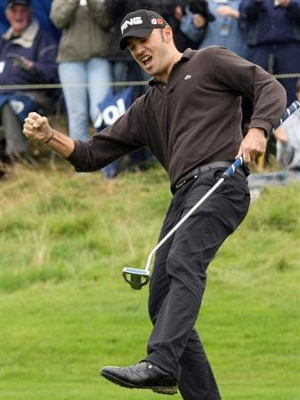 PERTH, UNITED KINGDOM - AUGUST 31:  Gregory Havret of Franceholes the winning putt during the final round of The Johnnie Walker Championship at Gleneagles on August 31, 2008 at the Gleneagles Hotel and Resort in Perthshire, Scotland.  (Photo by Ross Kinnaird/Getty Images)