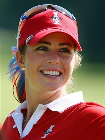 SUGAR GROVE, IL - AUGUST 18:  Paula Creamer of the U.S. Team walks across a green during a practice round prior to the start of the 2009 Solheim Cup at Rich Harvest Farms on August 18, 2009 in Sugar Grove, Illinois.  (Photo by Scott Halleran/Getty Images)