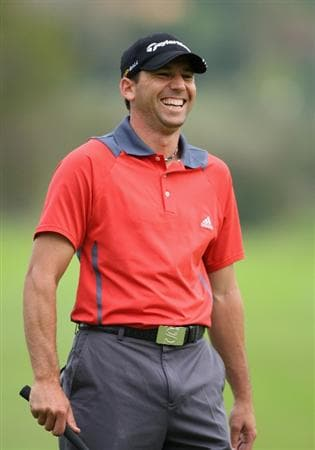 CASTELLO, SPAIN - OCTOBER 24:  Sergio Garcia of Spain looks happy during the second round of the Castello Masters Costa Azahar at the Club de Campo del Mediterraneo on October 24, 2008 in Castello, Spain.  (Photo by Stuart Franklin/Getty Images)