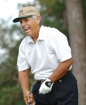 Lee Trevino laughs as he tells a joke on the third tee during the second round of the Champions Tour 2005 Adminstaff Small Business Classic at Augusta Pines Country Club in Spring, Texas October 15, 2005.Photo by Steve Grayson/WireImage.com