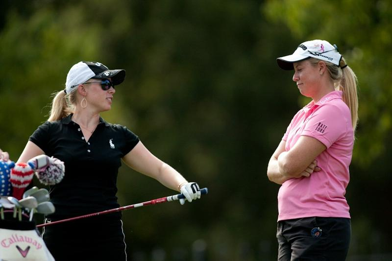 DANVILLE, CA - OCTOBER 14: (L-R): Morgan Pressel and Brittany Lincicome talk as they wait on the ninth tee during the first round of the CVS/Pharmacy LPGA Challenge at Blackhawk Country Club on October 14, 2010 in Danville, California. (Photo by Darren Carroll/Getty Images)