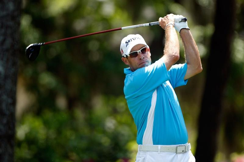 HILTON HEAD ISLAND, SC - APRIL 17:  Brian Davis of England hits his tee shot on the eighth hole during the third round of the Verizon Heritage at the Harbour Town Golf Links on April 17, 2010 in Hilton Head lsland, South Carolina.  (Photo by Scott Halleran/Getty Images)