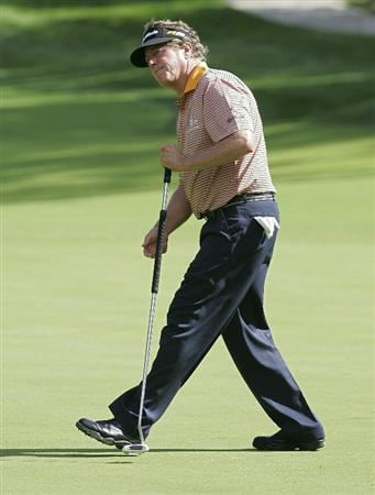 POTOMAC, MD - OCTOBER 09: Michael Allen reacts to his missed birdie putt on the sixth green during the third round of the Constellation Energy Senior Players Championship held at TPC Potomac at Avenel Farm on October 9, 2010 in Potomac, Maryland.  (Photo by Michael Cohen/Getty Images)
