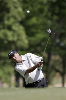 Pete Jordan chips into the 8th green during the second round of the Rex Hospital Open, May 7,2005, held at TPC of Wakefield Plantation, Raleigh, N.C.Photo by Stan Badz/PGA TOUR/WireImage.com