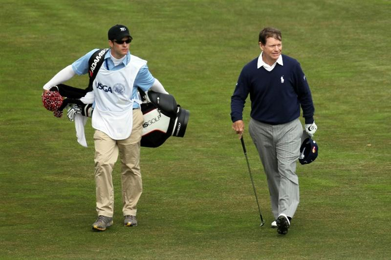 PEBBLE BEACH, CA - JUNE 20:  Tom Watson walks to the 18th green alongside his son/caddie Michael during the final round of the 110th U.S. Open at Pebble Beach Golf Links on June 20, 2010 in Pebble Beach, California.  (Photo by Stephen Dunn/Getty Images)