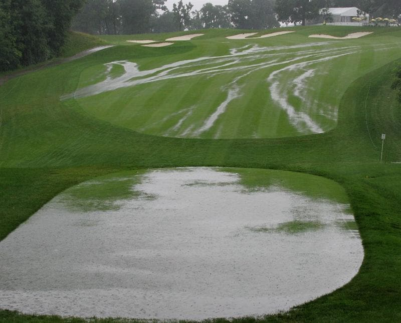 SILVIS, IL - JULY 10:  A view of the first hole as storms cause suspension of play during the second round of the John Deere Classic at TPC Deere Run held on July 10, 2009 in Silvis, Illinois.  (Photo by Michael Cohen/Getty Images)
