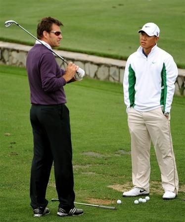 AUGUSTA, GA - APRIL 06:  Anthony Kim (R) talks with Nick Faldo on the range during a practice round prior to the 2009 Masters Tournament at Augusta National Golf Club on April 6, 2009 in Augusta, Georgia.  (Photo by Harry How/Getty Images)