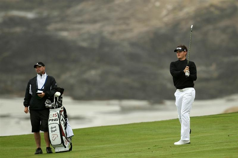 PEBBLE BEACH, CA - JUNE 14:  Gary Boyd of England plays a shot during a practice round prior to the start of the 110th U.S. Open at Pebble Beach Golf Links on June 14, 2010 in Pebble Beach, California.  (Photo by Ross Kinnaird/Getty Images)