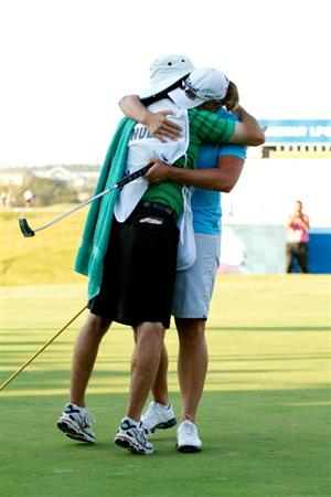 PRATTVILLE, AL - OCTOBER 10: Katherine Hull of Australia celebrates with caddie Vern Tess after winning the Navistar LPGA Classic at the Senator Course at the Robert Trent Jones Golf Trail on October 10, 2010 in Prattville, Alabama. (Photo by Darren Carroll/Getty Images)