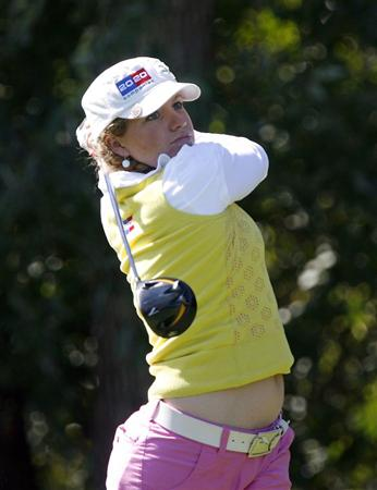 DANVILLE, CA - OCTOBER 11: Mikaela Parmlid of Sweden makes a tee shot on the 8th hole during the third round of the LPGA Longs Drugs Challenge at the Blackhawk Country Club October 11, 2008 in Danville, California. (Photo by Max Morse/Getty Images)