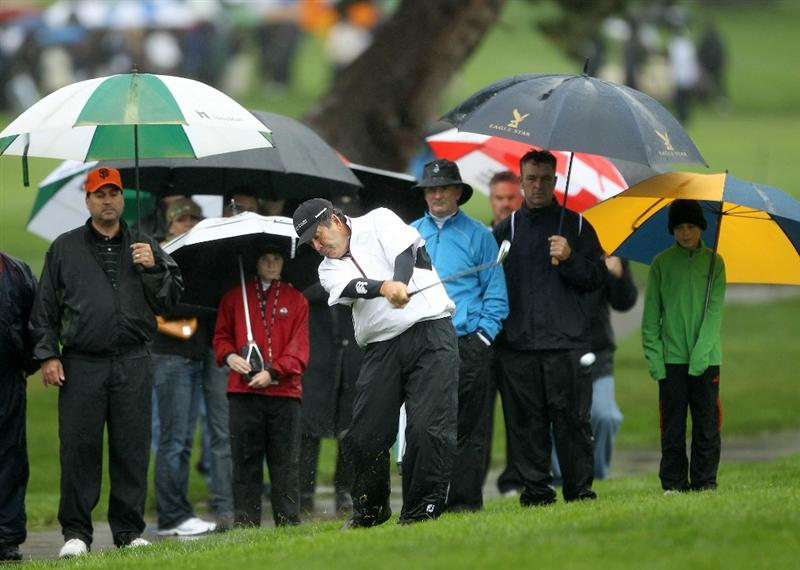 SAN FRANCISCO - NOVEMBER 07:  David Frost hits his second shot on the 6th hole during the final round of the Charles Schwab Cup Championship at Harding Park Golf Course on November 7, 2010 in San Francisco, California.  (Photo by Ezra Shaw/Getty Images)