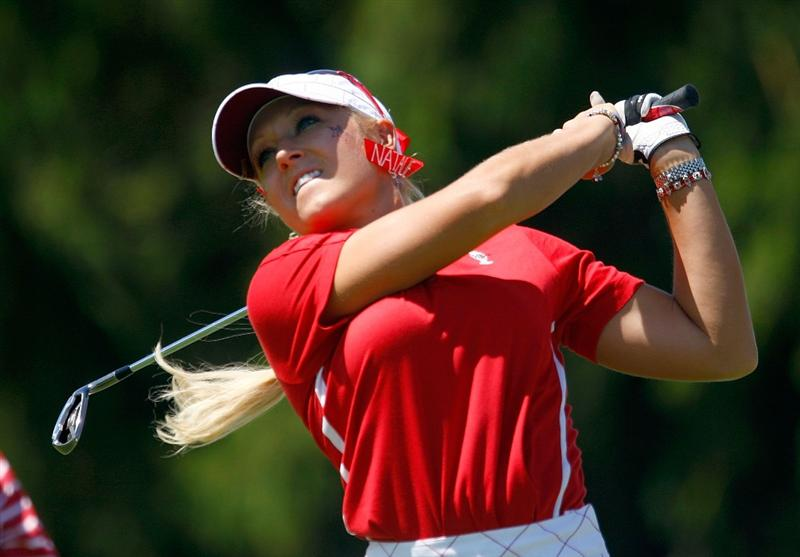 SUGAR GROVE, IL - AUGUST 23:  Natalie Gulbis of the U.S. Team watches her tee shot on the third hole during the Sunday singles matches at the 2009 Solheim Cup at Rich Harvest Farms on August 23, 2009 in Sugar Grove, Illinois.  (Photo by Scott Halleran/Getty Images)