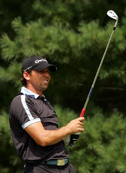 PARAMUS, NJ - AUGUST 24:  Sergio Garcia of Spain hits a shot on the 2nd hole during the final round of The Barclays at Ridgewood Country Club on August 24, 2008 in Paramus, New Jersey.  (Photo by Sam Greenwood/Getty Images)