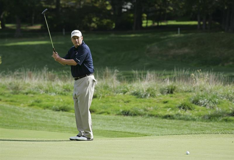 POTOMAC, MD - OCTOBER 09: Loren Roberts reacts to his missed birdie putt on the fifth green during the third round of the Constellation Energy Senior Players Championship held at TPC Potomac at Avenel Farm on October 9, 2010 in Potomac, Maryland.  (Photo by Michael Cohen/Getty Images)