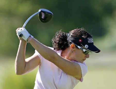 SPRINGFIELD, IL - SEPTEMBER 1:  Rachel Hetherington of Australia hits her tee shot on the 3rd hole during the third round of the State Farm Classic at Panther Creek Country Club on September 1, 2007 in Springfield, Illinois. (Photo by Hunter Martin/Getty Images)