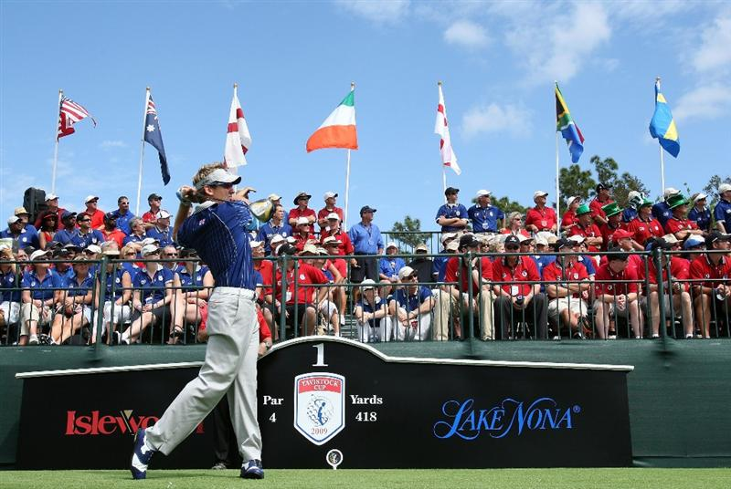 ORLANDO, FL - MARCH 17:  Ian Poluter of England and the Lake Nona Team tees off at the first hole  during the second day of the 2009 Tavistock Cup at the Lake Nona Golf and Country Club, on March 17, 2009 in Orlando, Florida  (Photo by David Cannon/Getty Images)