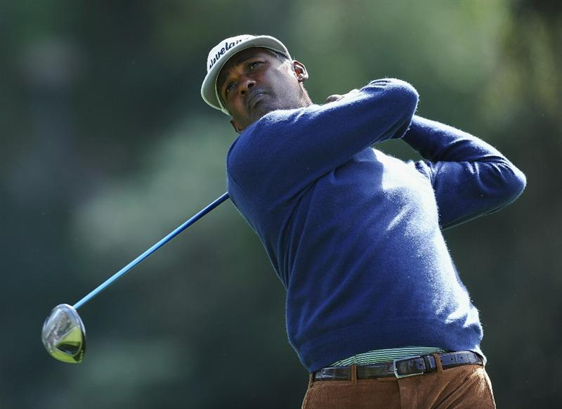PACIFIC PALISADES, CA - FEBRUARY 19:  Vijay Singh of Fiji plays his tee shot on the nineth hole during the third round of the Northern Trust Open at Riviera Country Club on February 19, 2011 in Pacific Palisades, California.  (Photo by Stuart Franklin/Getty Images)