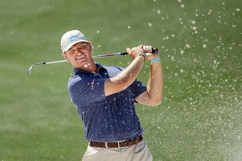 AUGUSTA, GA - APRIL 04:  Ernie Els of South Africa plays a bunker shot during a practice round prior to the 2011 Masters Tournament at Augusta National Golf Club on April 4, 2011 in Augusta, Georgia.  (Photo by Andrew Redington/Getty Images)