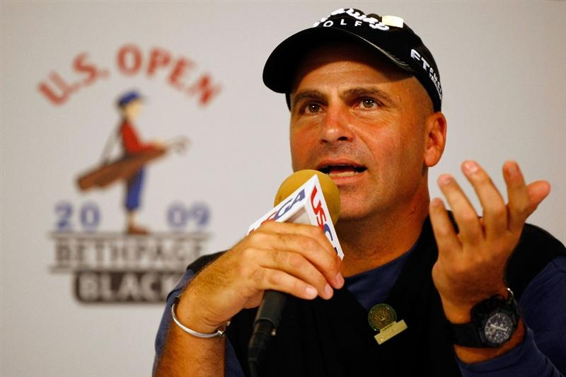 FARMINGDALE, NY - JUNE 16:  Rocco Mediate talks with the media during a press conference held on the second day of previews to the 109th U.S. Open on the Black Course at Bethpage State Park on June 16, 2009 in Farmingdale, New York.  (Photo by Scott Halleran/Getty Images)