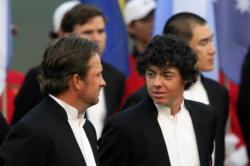 SHENZHEN, CHINA - NOVEMBER 25:  Graeme McDowell and Rory McIlroy of Northern Ireland during the Opening Ceremony of the Omega Mission Hills World Cup played over the Olazabal Course on November 25, 2009 in Shenzhen, China.  (Photo by Phil Inglis/Getty Images)