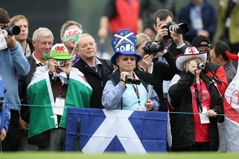 NEWPORT, WALES - SEPTEMBER 30:  Golf fans watch the play during a practice round prior to the 2010 Ryder Cup at the Celtic Manor Resort on September 30, 2010 in Newport, Wales.  (Photo by Andy Lyons/Getty Images)