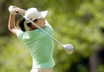 Shi Hyun Ahn tees off during the second round of the LPGA Florida's Natural Charity Championship on Friday, April 21, 2006, at Eagle's Landing Country Club in Stockbridge, Georgia.Photo by Grant Halverson/WireImage.com