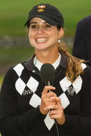 DANVILLE, CA - OCTOBER 17: Beatriz Recari of Spain speaks following her victory at the CVS/Pharmacy LPGA Challenge at Blackhawk Country Club on October 17, 2010 in Danville, California. (Photo by Darren Carroll/Getty Images)
