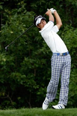 CHASKA, MN - AUGUST 15:  Ryo Ishikawa of Japan hits his tee shot on the tenth hole during the third round of the 91st PGA Championship at Hazeltine National Golf Club on August 15, 2009 in Chaska, Minnesota.  (Photo by Jamie Squire/Getty Images)