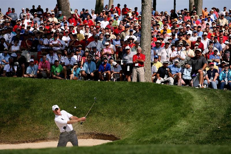 LOUISVILLE, KY - SEPTEMBER 19:  Jim Furyk of the USA team hits a shot from a bunker during day one of the 2008 Ryder Cup at Valhalla Golf Club on September 19, 2008 in Louisville, Kentucky.  (Photo by Andy Lyons/Getty Images)