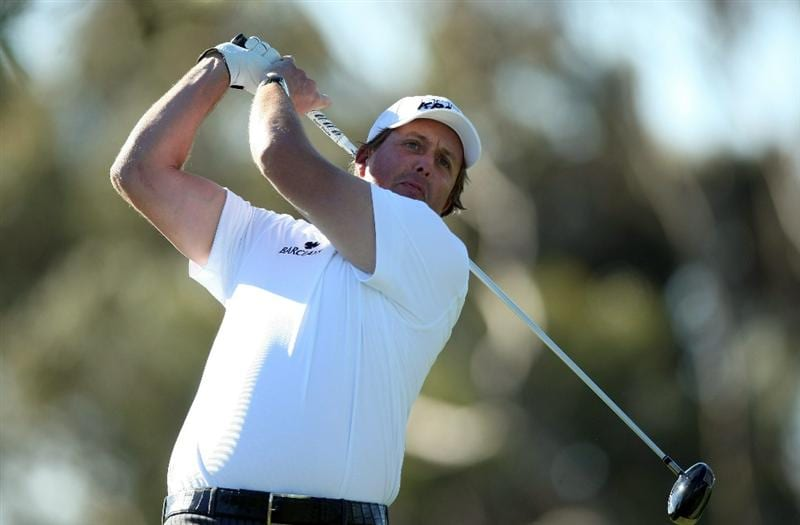 LA JOLLA, CA - JANUARY 28:  Phil Mickelson tees off the 11th hole during the second round of the Farmers Insurance Open at Torrey Pines on January 28, 2011 in La Jolla, California. (Photo by Donald Miralle/Getty Images)