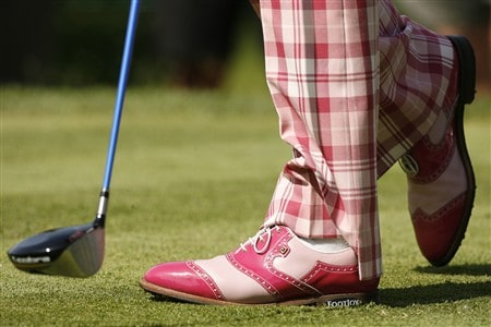 DUBLIN, OH - MAY 29: The shoes of Ian Poulter of England are seen as he hits his tee shot on the 15th hole during the first round of the Memorial Tournament at Muirfield Village Golf Club May 29, 2008 in Dublin, Ohio. (Photo by Hunter Martin/Getty Images)