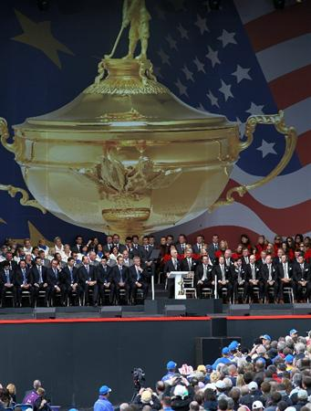 NEWPORT, WALES - SEPTEMBER 30:  USA Team Captain Corey Pavin speaks during the Opening Ceremony prior to the 2010 Ryder Cup at the Celtic Manor Resort on September 30, 2010 in Newport, Wales. (Photo by Jamie Squire/Getty Images)