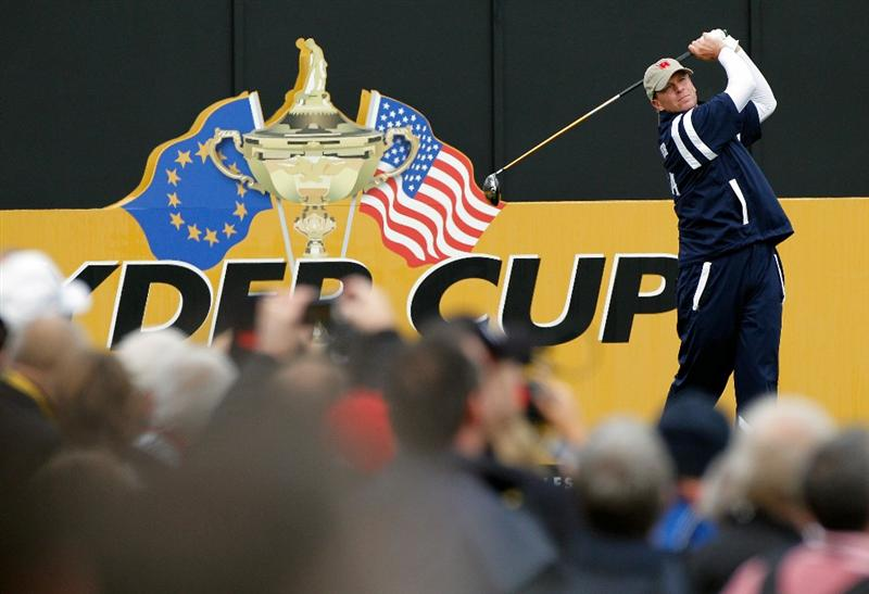 NEWPORT, WALES - SEPTEMBER 30:  Steve Stricker of the USA tees off during a practice round prior to the 2010 Ryder Cup at the Celtic Manor Resort on September 30, 2010 in Newport, Wales. (Photo by Sam Greenwood/Getty Images)