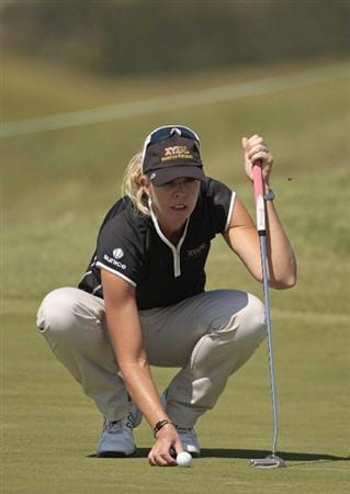 PRATTVILLE, AL - SEPTEMBER 25:   Jill McGill lines up her putt on the 8th green during first round play in the Navistar LPGA Classic at the Robert Trent Jones Golf Trail at Capitol Hill on September 25, 2008 in  Prattville, Alabama.  (Photo by Dave Martin/Getty Images)