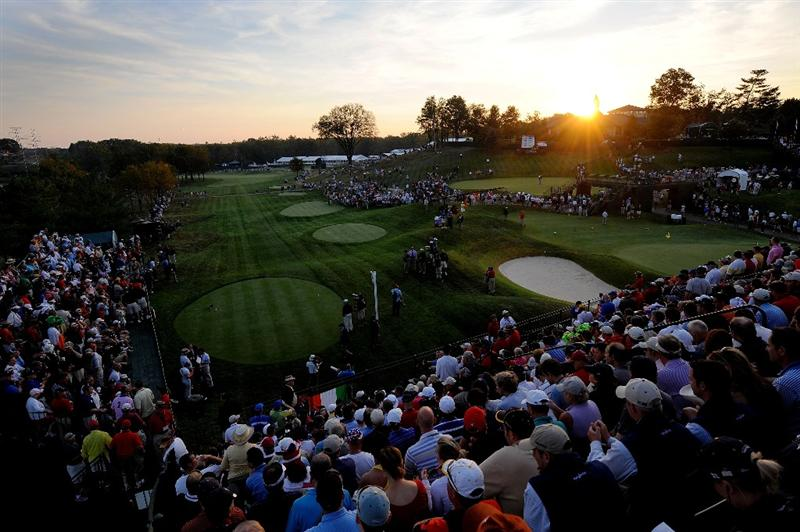 LOUISVILLE, KY - SEPTEMBER 19:  The sun rises over the first tee during day one of the 2008 Ryder Cup at Valhalla Golf Club on September 19, 2008 in Louisville, Kentucky.  (Photo by Sam Greenwood/Getty Images)