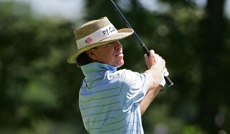 NORTON, MA - SEPTEMBER 01:  Briny Baird watches his drive on the first hole during the final  round of the Deutsche Bank Championship at TPC of Boston held on September 1, 2008 in Norton, Massachusetts.  (Photo by Michael Cohen/Getty Images)