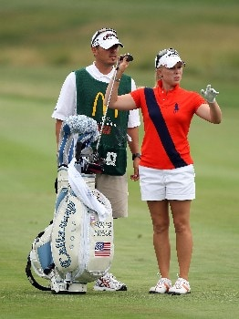 HAVRE DE GRACE, MD - JUNE 10:  Morgan Pressel of the USA prepares to hit her second shot at the par 4, 1st hole during the final round of the 2007 McDonald's LPGA Championship on June 10, 2007 at Bulle Rock Golf Course in Havre de Grace, Maryland.  (Photo by David Cannon/Getty Images)