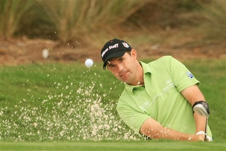 PONTE VEDRA BEACH, FL - MAY 08:  Padraig Harrington of Ireland plays a shot out of a bunker on the second hole during the first round of the THE PLAYERS Championship on THE PLAYERS Stadium Course at TPC Sawgrass on May 8, 2008 in Ponte Vedra Beach, Florida.  (Photo by Scott Halleran/Getty Images)