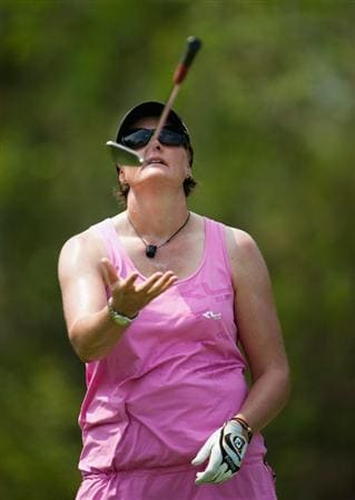 CHON BURI, THAILAND - FEBRUARY 18:  Maria Hjorth of Sweden throws her club in the air on the 4th tee during day two of the LPGA Thailand at Siam Country Club on February 18, 2011 in Chon Buri, Thailand.  (Photo by Victor Fraile/Getty Images)