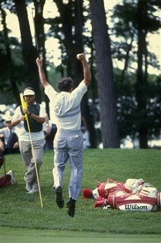 1990:  Hale Irwin of the USA celebrates after winning the US Open at the Medinah Country Club in Illinois, USA. Irwin won the event after a play-off against Mike Donald also of the USA. \ Mandatory Credit: Allsport UK /Allsport