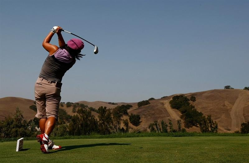 DANVILLE, CA - SEPTEMBER 27:  Christina Kim tees off on the 6th hole during the final round of the CVS/pharmacy LPGA Challenge at Blackhawk Country Club on September 27, 2009 in Danville, California.  (Photo by Jonathan Ferrey/Getty Images)